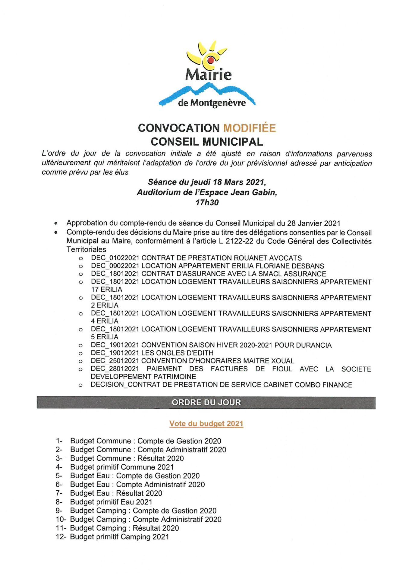 Convocation Conseil Municipal du 18 mars 2021 - Page 1 © Mairie de Montgenèvre