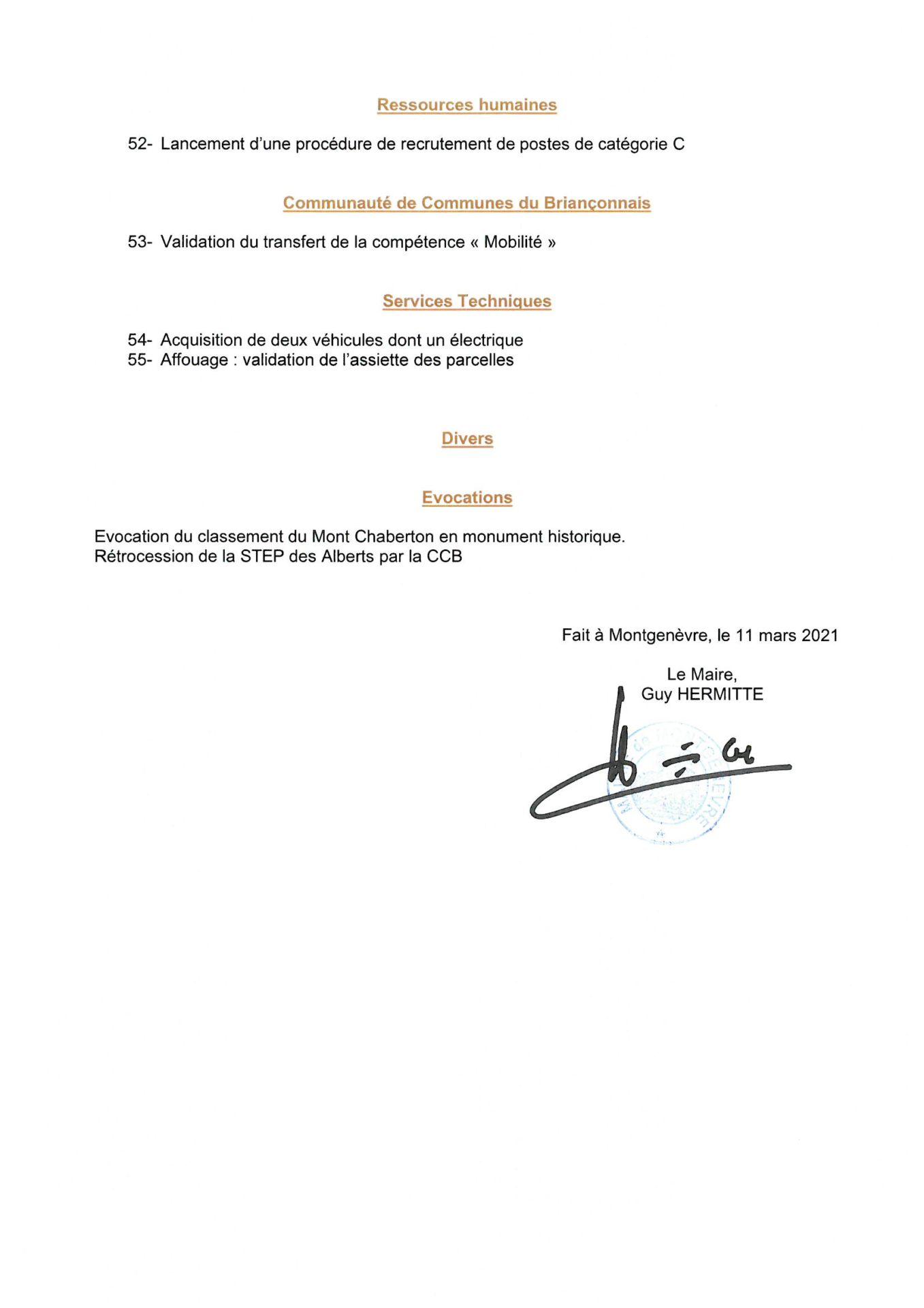 Convocation Conseil Municipal du 18 mars 2021 - Page 3 © Mairie de Montgenèvre