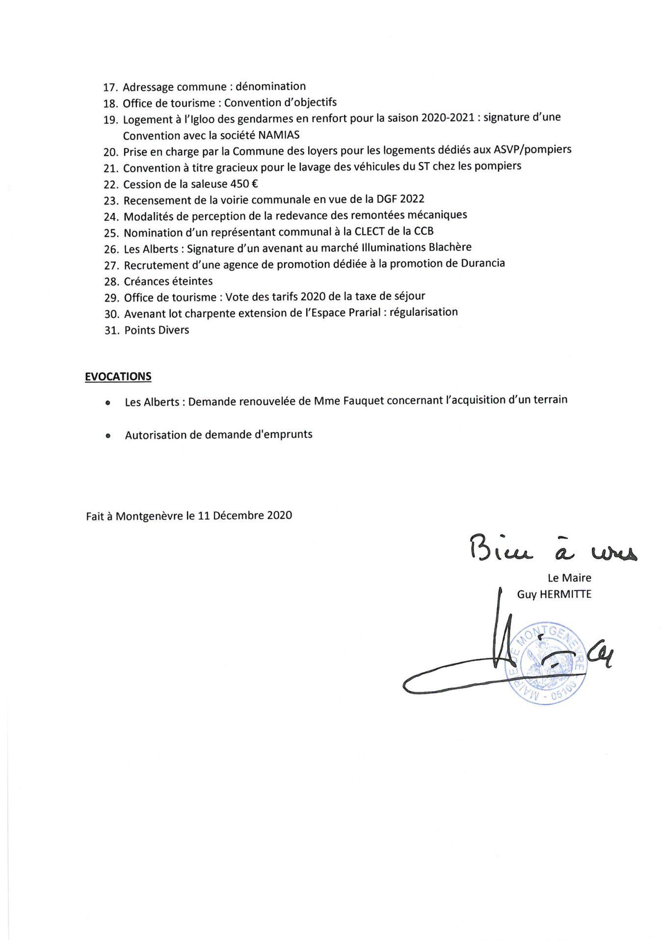 Convocation Conseil Municipal du 3 décembre 2020 - Page 2 © Mairie de Montgenèvre
